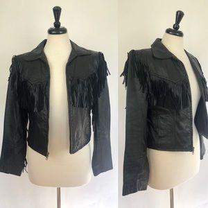 Vintage | Black Fringe Leather Cropped Moto Jacket
